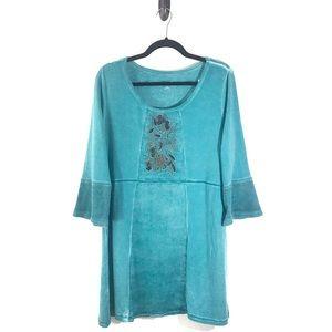 Soft Surroundings Rihannon Tunic Teal Blue Large